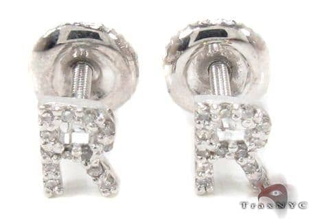 Prong Diamond Initial \'R\' Earrings 32651 Stone