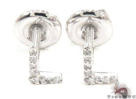 Prong Diamond Initial \'L\' Earrings 32646 Stone