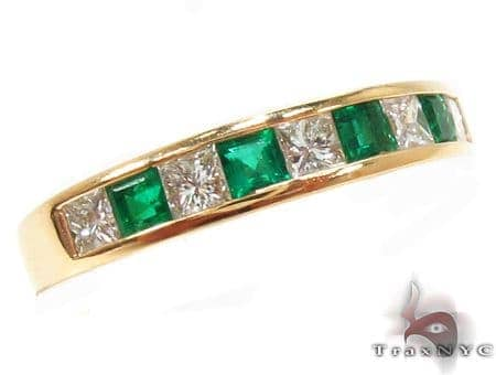Invisible Emerald Gemstone Diamond Ring 32716 Anniversary/Fashion