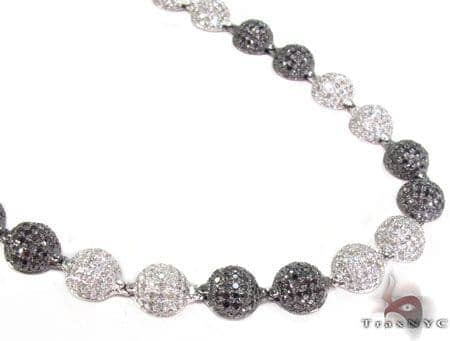 Black and White Pave Diamond Chain 36 Inches 7mm 44.1 Grams Rosary