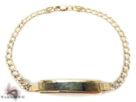 Baby 10K Cuban Diamond Cut ID Bracelet 33051 Gold
