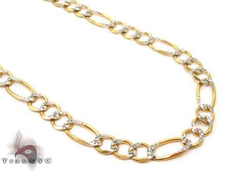 Solid Figaro Diamond Cut Chain 30 Inches 5mm 13.96 Grams Gold