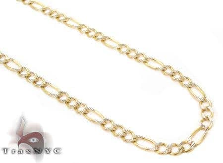 Solid Figaro Diamond Cut Chain 24 Inches 3mm 4.9 Grams Gold