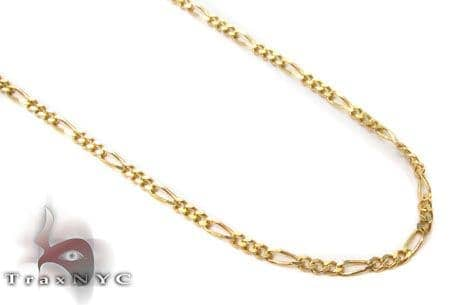 Solid Figaro Chain 24 Inches 1mm 1.96 Grams Gold