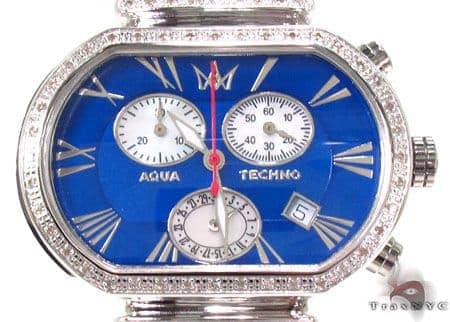 Aqua Techno Diamond with Blue Leather Watch Affordable Diamond Watches