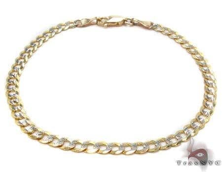 Solid Cuban Diamond Cut Bracelet 7 Inches 3.5mm 2.8 Grams Gold