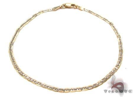 10K Gold Anchor Diamond Cut Bracelet 33207 Gold