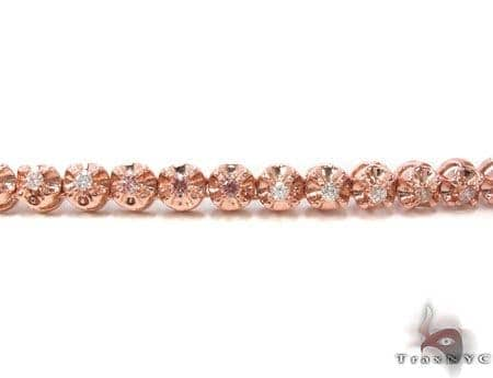 Rose Gold Pink and White Color Diamond Chain 40 Inches 6mm 107.8 Grams Diamond