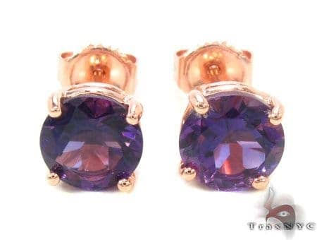 14k Rose Gold Deep Amethyst Earrings 33423 Stone