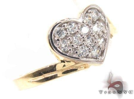 CZ 10k Gold Heart Ring 33540 Anniversary/Fashion