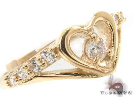 CZ 10K Gold Heart Ring 33579 Anniversary/Fashion