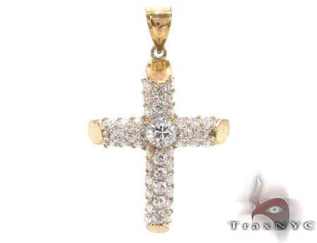 CZ 10K Gold Cross 33640 Gold