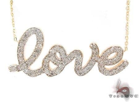 Prong Diamond Love Necklace Diamond