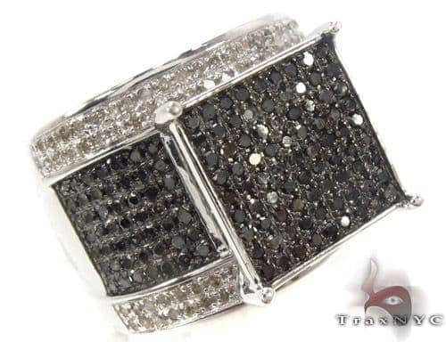Prong Black and White Diamond Ring 33859 Engagement