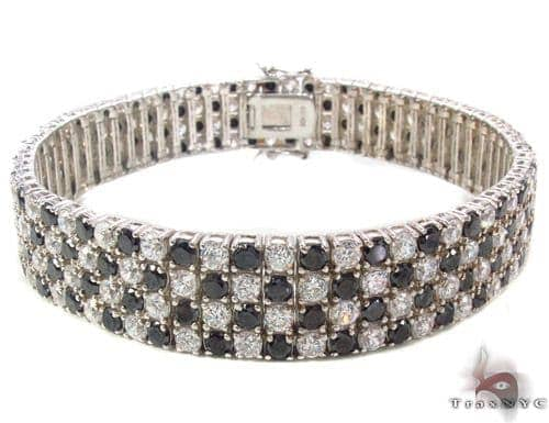 Black and White CZ Bracelet 33877 Silver & Stainless Steel