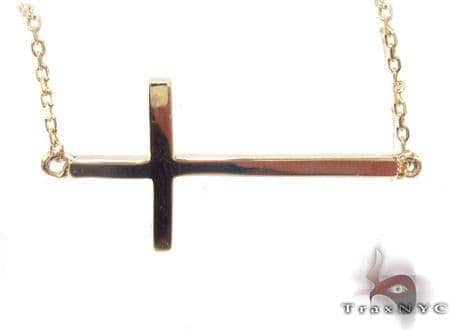 14K Yellow Gold Cross Necklace 33977 Gold