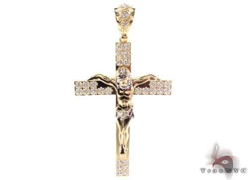 CZ 10K Gold Cross 34017 Gold