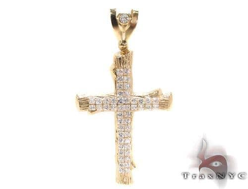 CZ 10K Gold Cross 34062 Gold