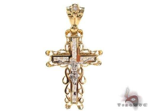 CZ 10K Gold Cross 34066 Gold