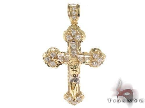 CZ 10K Gold Jesus Cross 34083 Gold