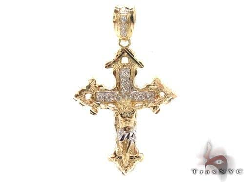 CZ 10K Gold Cross 34089 Gold