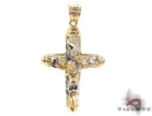CZ 10K Gold Jesus Cross 34129 Gold