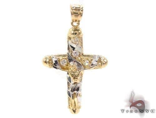 CZ 10K Gold Jesus Cross 34129 Gold