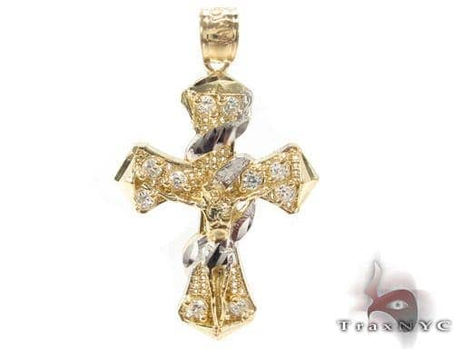 CZ 10K Gold Jesus Cross 34130 Gold