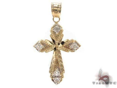 CZ 10K Gold Cross 34133 Gold