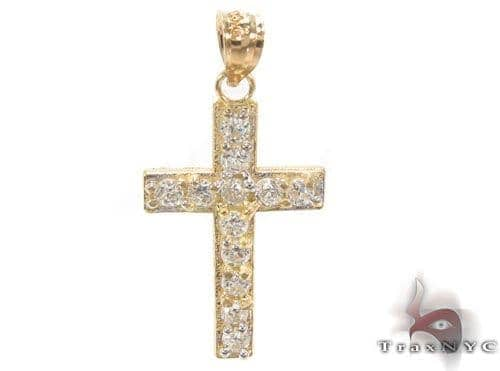 CZ 10K Gold Cross 34137 Gold