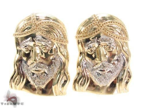 10K Gold Jesus Earrings 34149 Metal