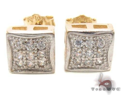 CZ 10K Gold Square Earrings 34234 Metal