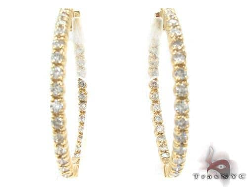 Prong Diamond Gold Hoop Earrings 34495 Style