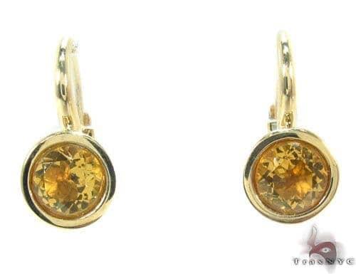 Citrine Gemstone Gold Hoop Earrings 34499 Metal