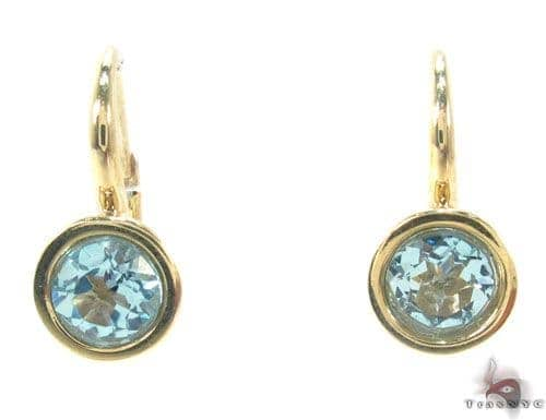 Blue Topaz Gold Hoop Earrings 34500 Stone