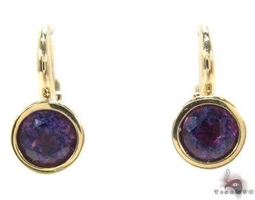Deep Purple Amethyst Gold Hoop Earrings 34501 Stone
