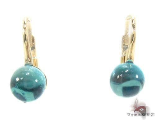Aquamarine Cabochon Gold Hoop Earrings 34502 Stone