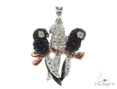 Prong Diamond Silver Bird Pendant 34997 Metal