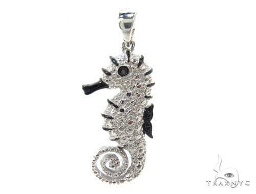 Prong Diamond Sea Horse Pendant 34998 Metal