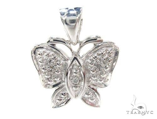 Prong Diamond Butterfly Silver Pendant 35011 Metal