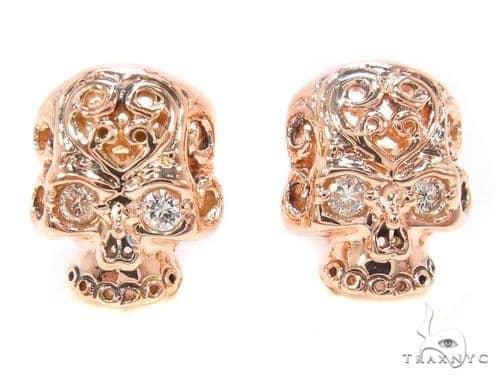 Mens Rose Gold Skull Earrings Style