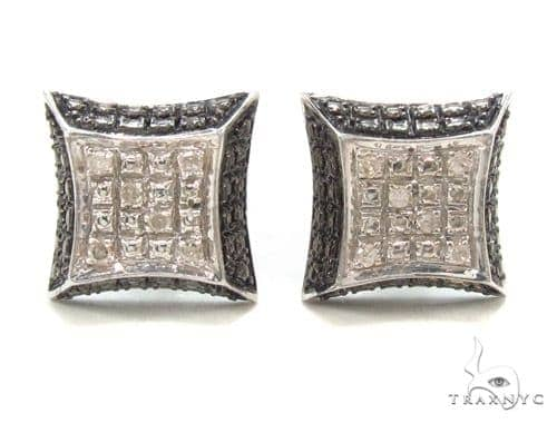 Prong Diamond Silver Earrings 35071 Metal
