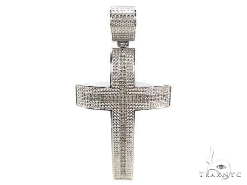 Prong Diamond Stainless Steel Cross 35368 Stainless Steel Cross Pendants