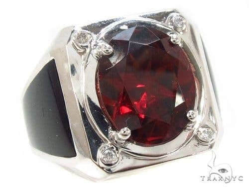 Red Garnet & Diamond Custom Ring 35492 Stone