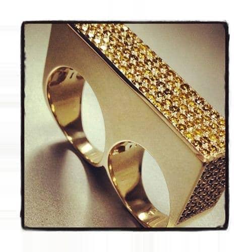 Double Finger Bar Diamond Ring 34569 Stone