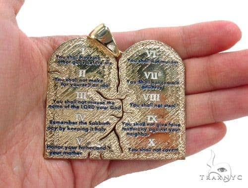 18K Gold Custom Decalogue Pendant Gold Pendants