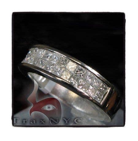 Guys White Gold Two Row  Princess Cut Wedding Ring Stone