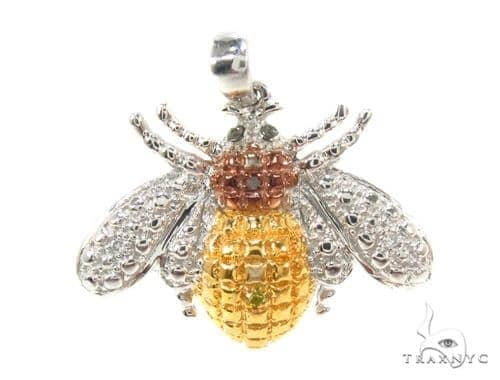 Prong Diamond Silver Bee Pendant 35535 Metal