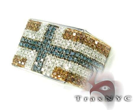 Red White & Blue Pave Ring Stone