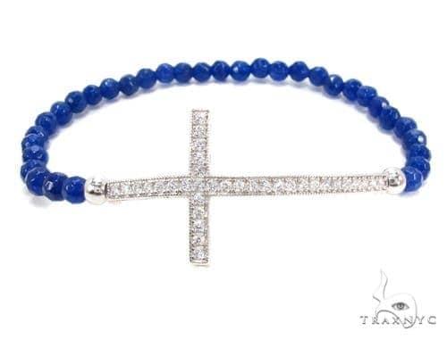 CZ Silver Cross Bracelet 35937 Silver & Stainless Steel
